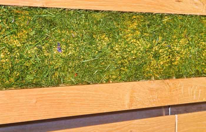 -Ausführung: Alle Sichtseiten Asteiche furniert matt lackiert,Griffleisten mit Nirostreifen umlaufend,Arbeitsplatte Silestone 20 mmFüllungen aus Grasschnitt in Kunstharz eingelegt